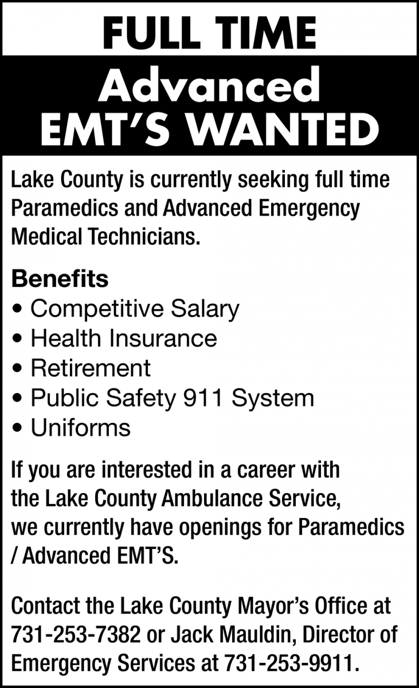 Advanced EMT's Wanted