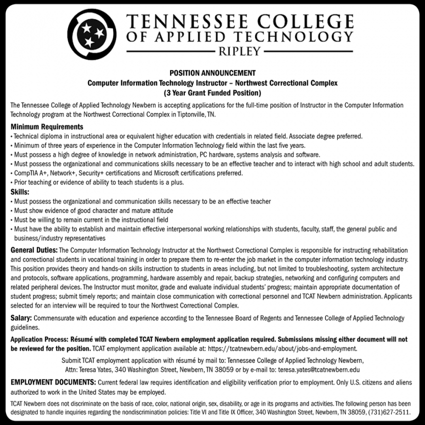 Computer Information Technology Instructor