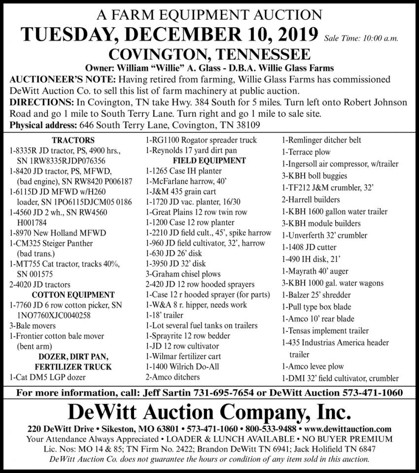 A Farm Equipment Auction