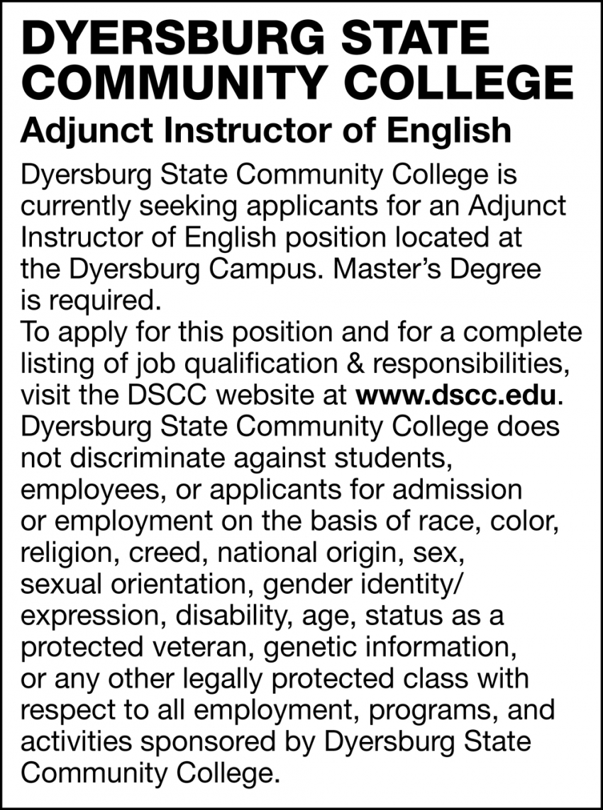 Adjunct Instructor of English