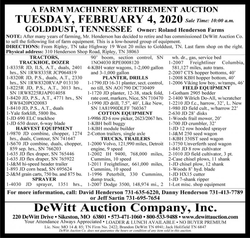A Farm Machinery Retirement Auction