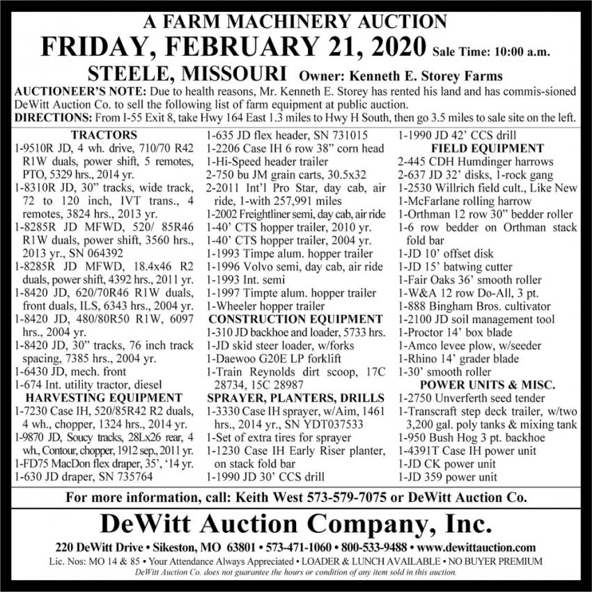 A Farm Machinery  Auction