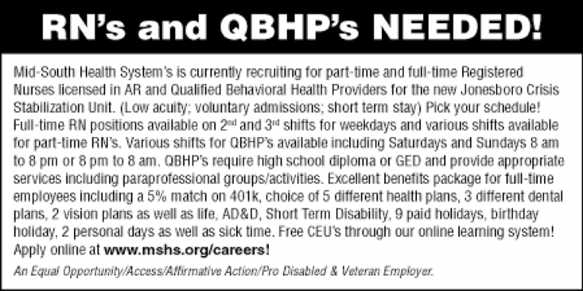 RN's and QBHP's Needed!
